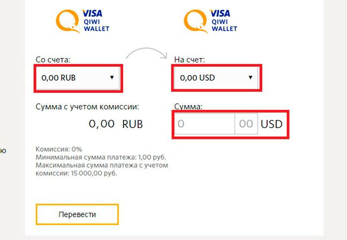 как перевести рубли на доллары на киви кошельке