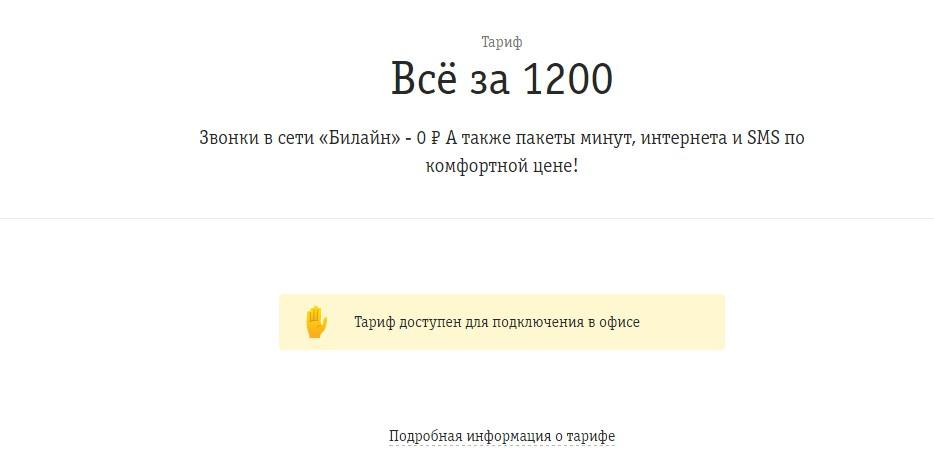 билайн все за 1200 подробно
