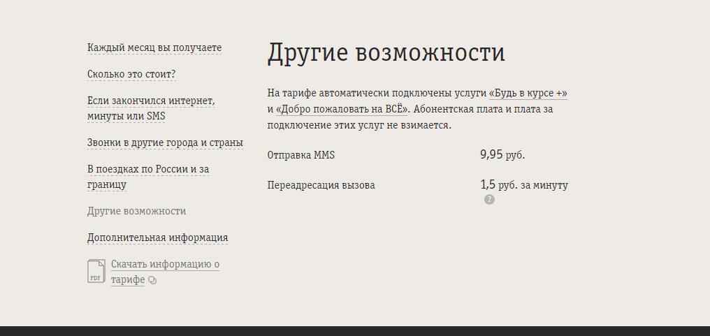тариф билайн все за 300 рублей в месяц