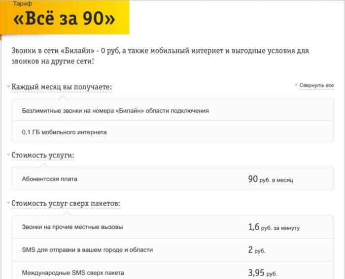 все за 90 рублей в месяц тариф билайн